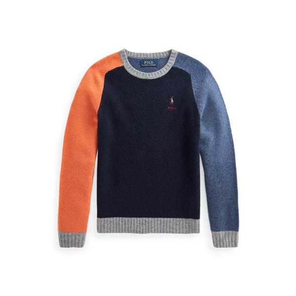 폴로 랄프로렌 보이즈 컬러블록 울 스웨터 Polo Ralph Lauren Color Blocked Wool Blend Sweater,Multi