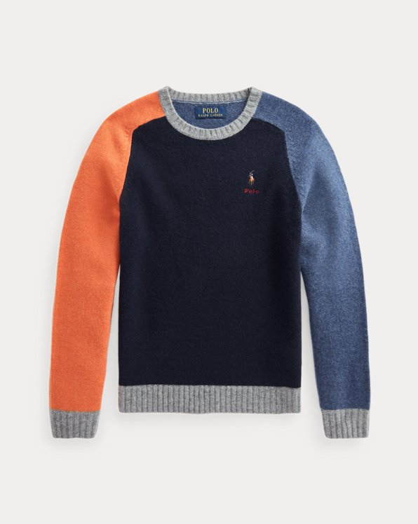 Color-Block-Pullover aus Wollmischung