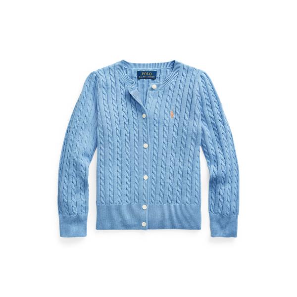 폴로 랄프로렌 여아용 미니 꽈배기 코튼 가디건 Polo Ralph Lauren Mini Cable Cotton Cardigan,Sky Blue