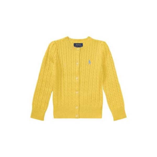 폴로 랄프로렌 여아용 미니 꽈배기 코튼 가디건 Polo Ralph Lauren Mini Cable Cotton Cardigan,Campus Yellow