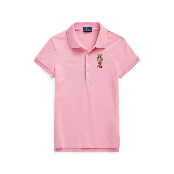 Polo Ralph Lauren Kids' Polo Bear Stretch Mesh Polo Shirt In Pink