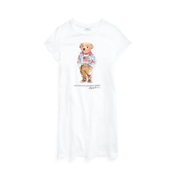Polo Ralph Lauren Kids' Polo Bear Cotton Jersey Tee Dress In White