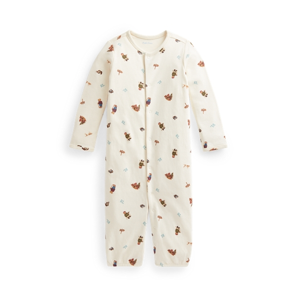 Ralph Lauren Babies' Polo Bear Convertible Gown Coverall In Greenwhich Bear Print