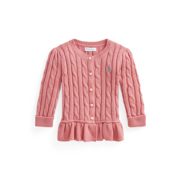 Ralph Lauren Babies' Cable Cotton Peplum Cardigan In Desert Rose