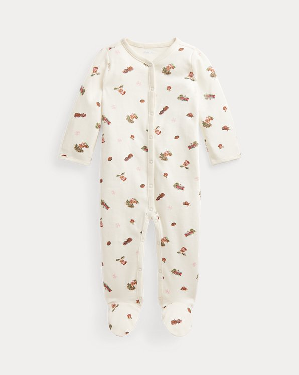 Polo Bear Interlock Footed Coverall
