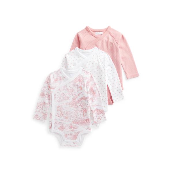 폴로 랄프로렌 베이비 아기옷 우주복  Polo Ralph Lauren 3 Piece Cotton Bodysuit Set,Pink Multi