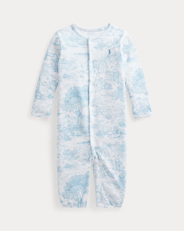 Toile-Print Convertible Gown Coverall