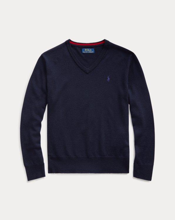 Maglia in lana merino con scollo a V