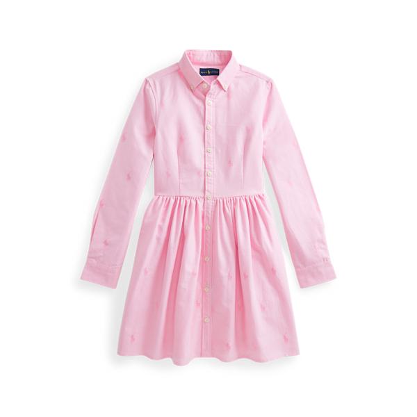 Polo Ralph Lauren Kids' Pony Cotton Shirtdress In Pink