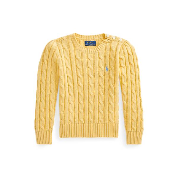 폴폴로 랄프로렌 여아용 꽈배기 니트 코튼 스웨터 Polo Ralph Lauren Cable Knit Cotton Sweater,Campus Yellow