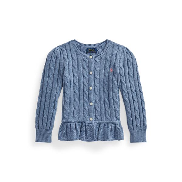폴로 랄프로렌 여아용 꽈배기 코튼 페플럼 가디건 Polo Ralph Lauren Cable Cotton Peplum Cardigan,Lattice Blue Heather