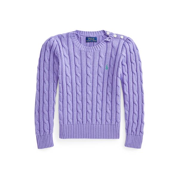 폴로 랄프로렌 여아용 꽈배기 니트 코튼 스웨터 Polo Ralph Lauren Cable Knit Cotton Sweater,Hyacinth