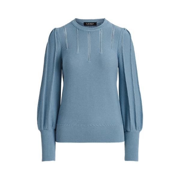 로렌 랄프로렌 퍼프 소매 스웨터 Lauren Puff Sleeve Cotton Sweater,Provincial Blue