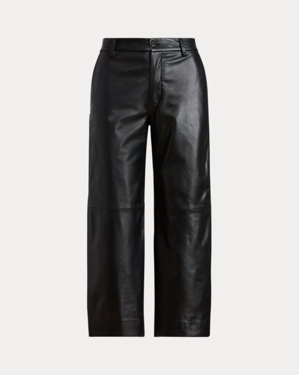 Cropped Wide-Leg Leather Pant