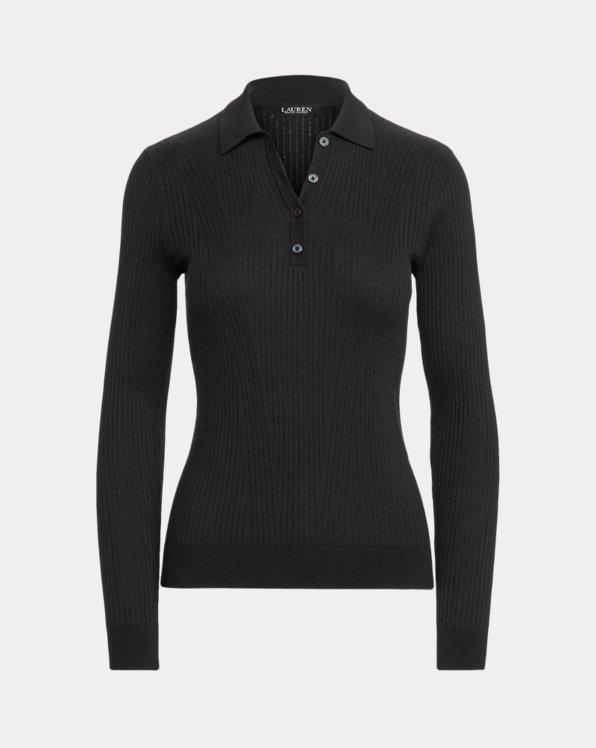 Rib-Knit Collared Sweater