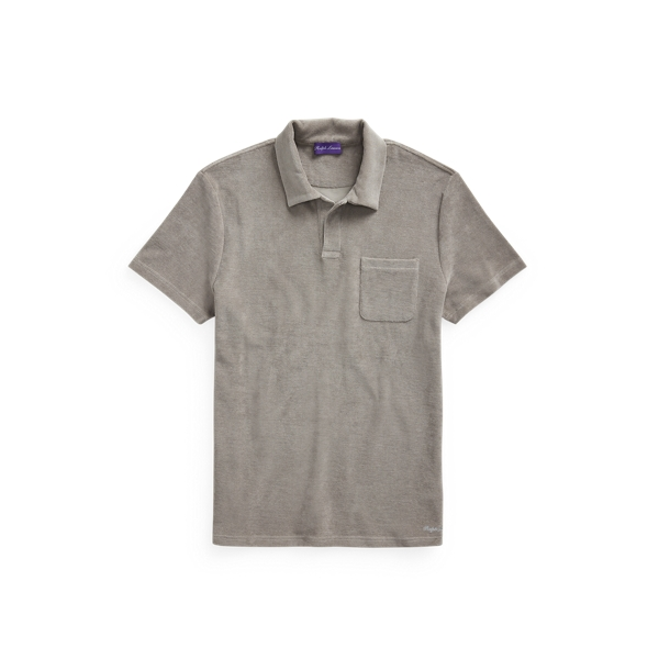 Purple Label Terry Polo Shirt In Light Grey