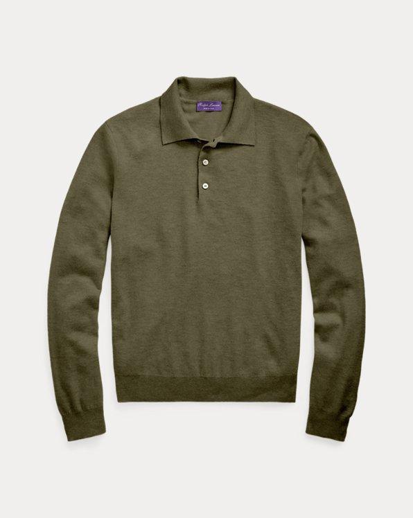 Silk-Cashmere Polo-Collar Sweater