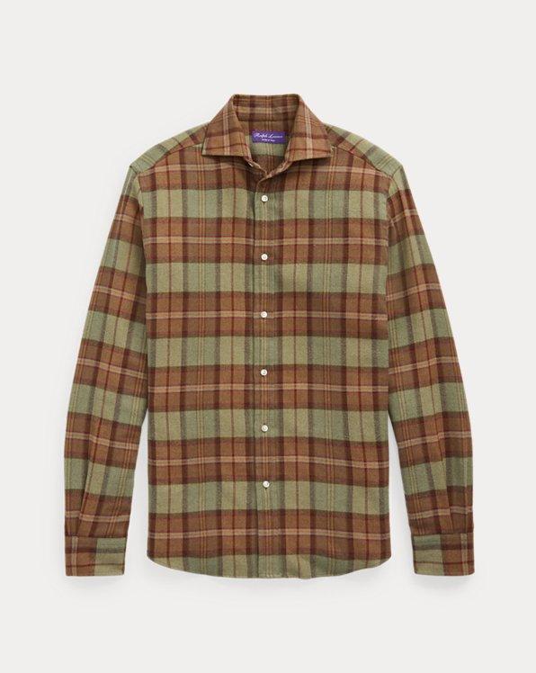 Suede-Trim Plaid Flannel Shirt