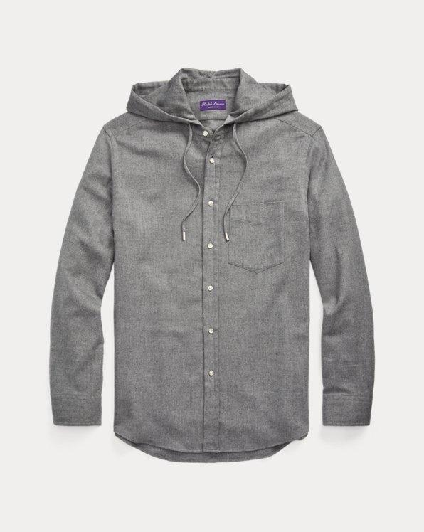 Herringbone Flannel Hooded Shirt