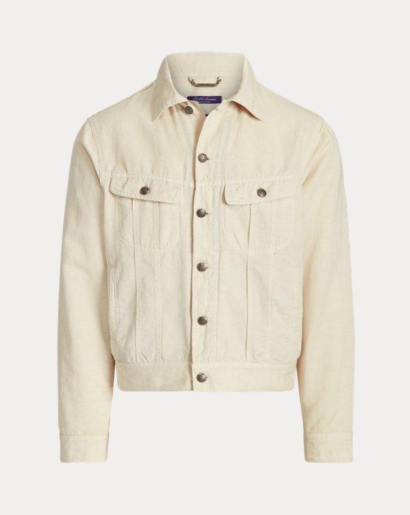 Slim Linen-Cotton Stretch Trucker Jacket
