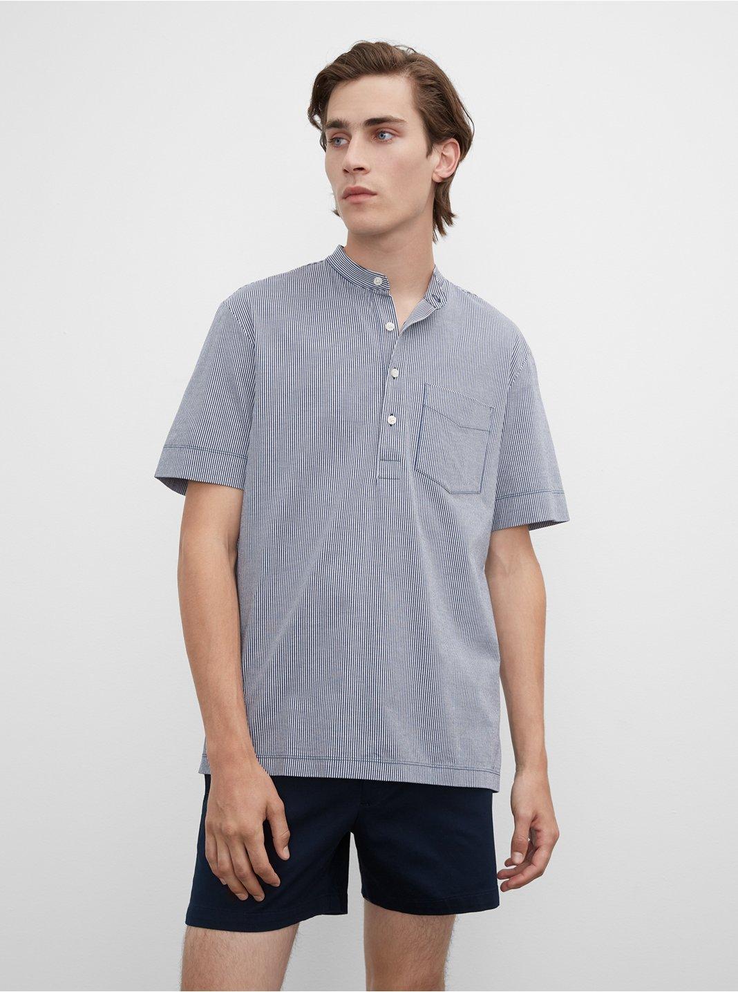 클럽 모나코 셔츠 Club Monaco Short Sleeve Stripe Popover Shirt,Blue Mu