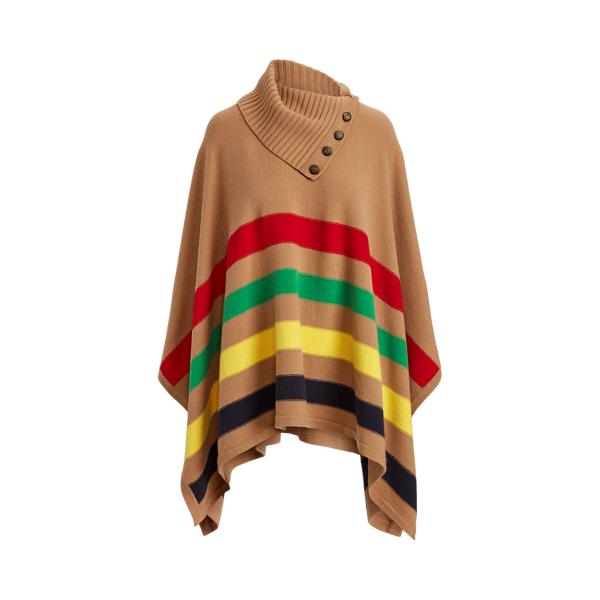 Lauren Striped Wool Blend Poncho
