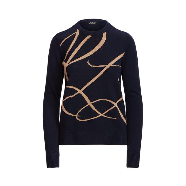 Lauren Metallic Logo Cotton Blend Sweater