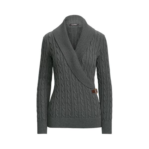 Lauren Cable Knit Buckle Trim Sweater