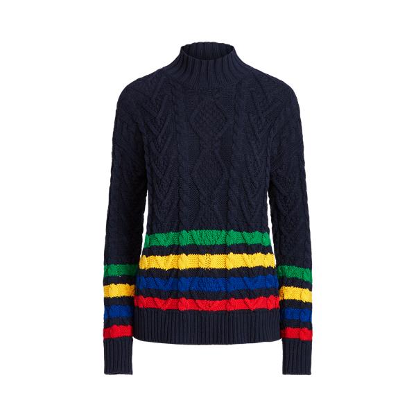 Lauren Striped Cable Knit Mockneck Sweater