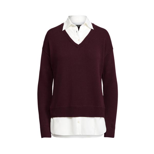 Lauren Layered Cotton V Neck Sweater