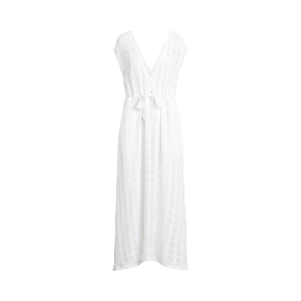 Ralph Lauren Plaid Woven Cover-up Dress In White