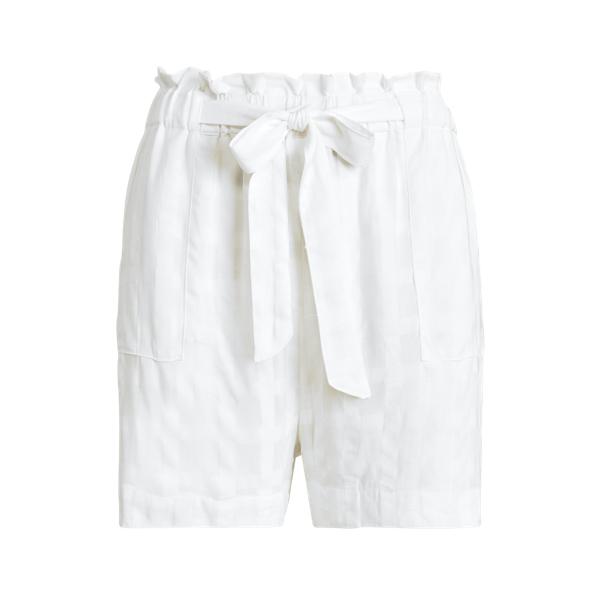 Ralph Lauren Plaid Cotton Self-tie Short In White