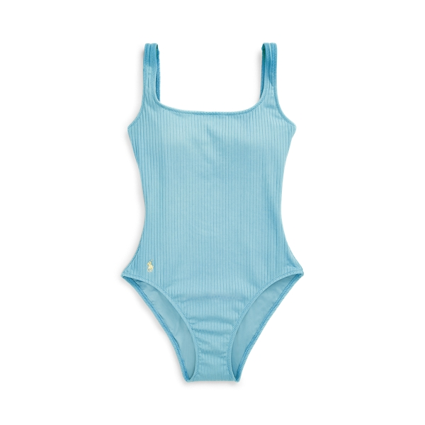Ralph Lauren Ribbed Scoopback One-piece In Blue