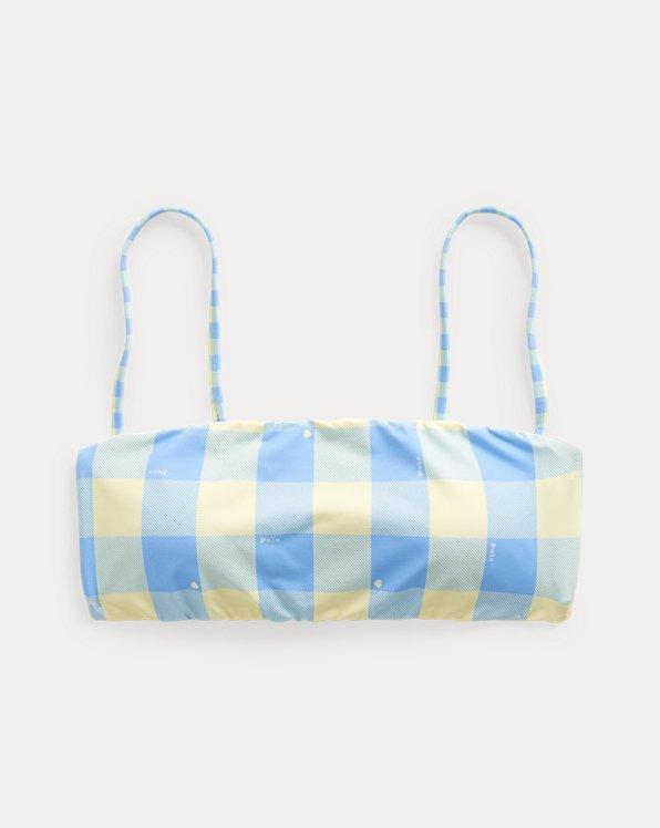 Plaid Bandeau Bikini Top