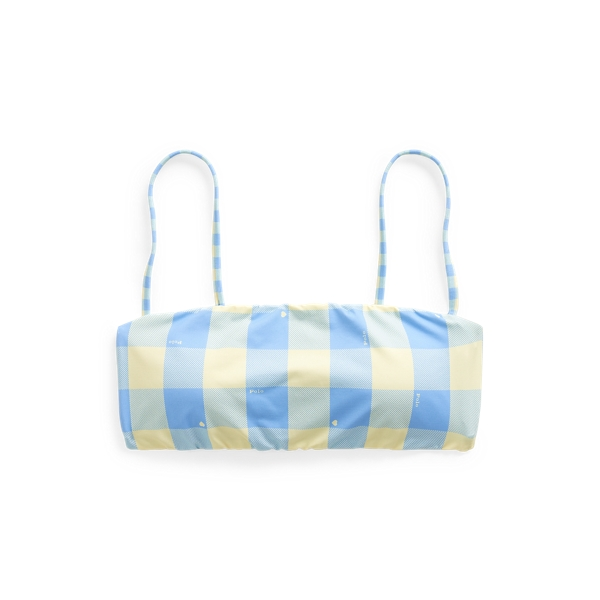 Ralph Lauren Plaid Bandeau Bikini Top In Blue