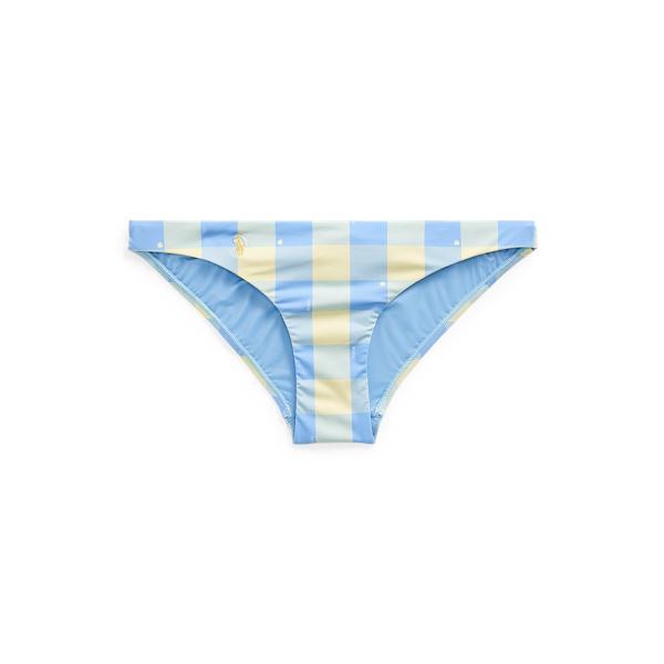 Ralph Lauren Plaid Hipster Bikini Bottom In Blue