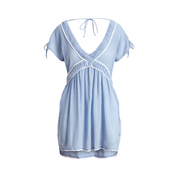 Ralph Lauren Ruffle V-neck Dress In Blue