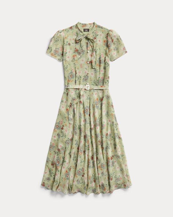 Floral Crinkled Silk Chiffon Dress