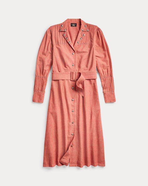 Studded Cotton-Linen Shirtdress