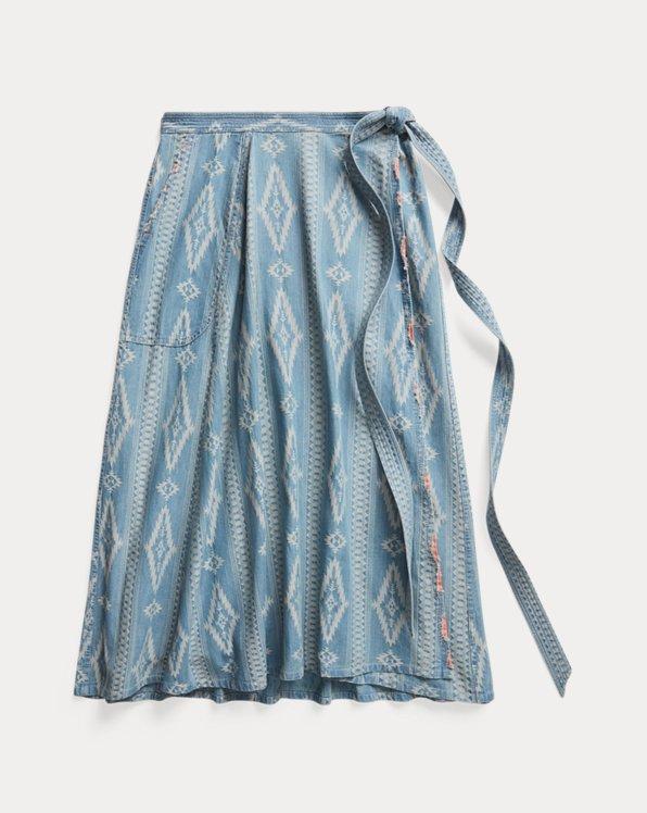 Indigo Jacquard Wrap Skirt