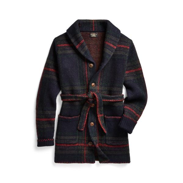 Polo Ralph Lauren Plaid Wool Linen Belted Cardigan