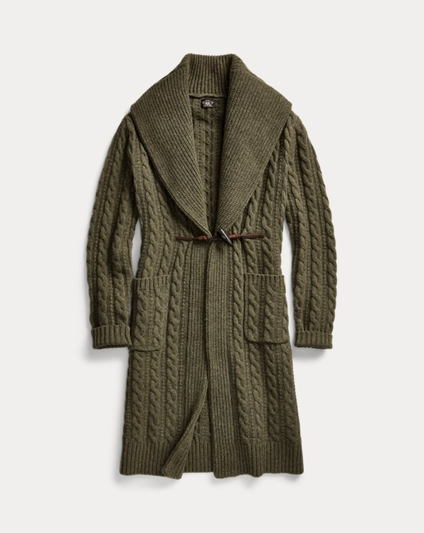 Cable-Knit Wool-Cashmere Sweater Coat