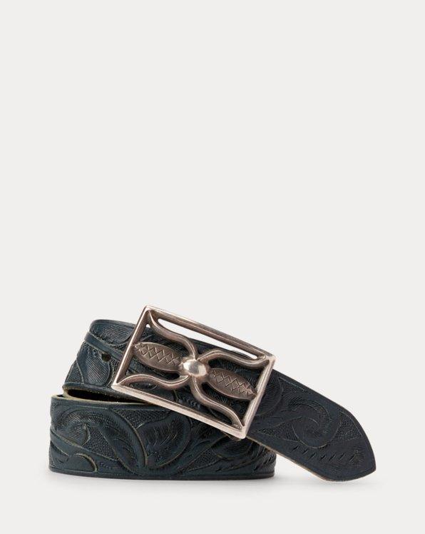 Hand-Tooled Indigo Leather Belt