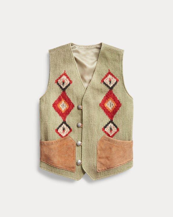 Suede-Trim Handwoven Jacquard Vest
