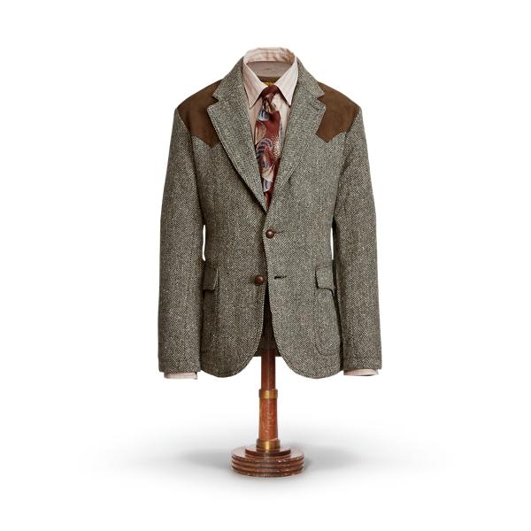Blazer en tweed du Donegal bordé de daim