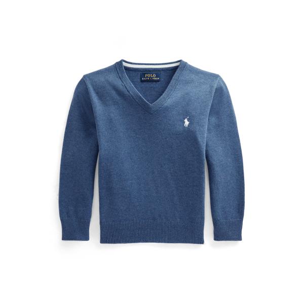 폴로 랄프로렌 Polo Ralph Lauren Cotton V Neck Sweater,Royal Heather