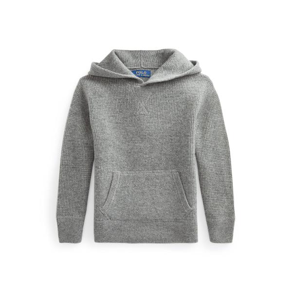 폴로 랄프로렌 Polo Ralph Lauren Washable Cashmere Hooded Sweater,Fawn Grey Heather