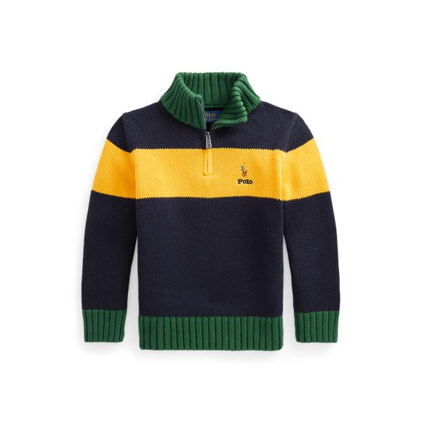 폴로 랄프로렌 Polo Ralph Lauren Cotton Quarter Zip Sweater,RL Navy Multi