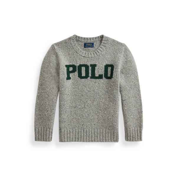 폴로 랄프로렌 Polo Ralph Lauren Logo Wool Blend Sweater,Grey Donegal