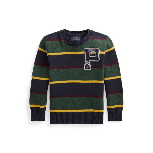 폴로 랄프로렌 Polo Ralph Lauren Striped Cotton Letterman Sweater,Navy Multi Stripe